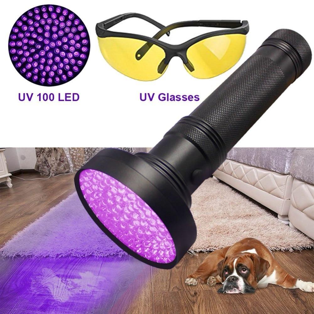 LED Blacklight UV Flashlight LED Powerful Ultraviolet Black Light Scorpion Pet Urine Stain Detector Purple UV Light Torch