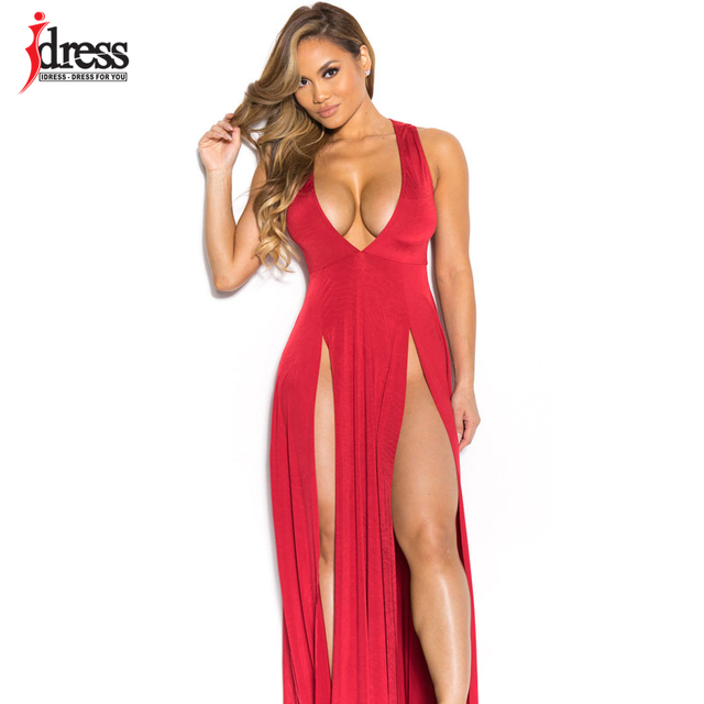 c873900c3d IDress 6 Colors S-XL Hot Women Summer Long Dress Sexy V Neck High Slit  Bodycon Bandage Dress Night Club Party Long Maxi Dress