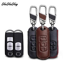 цена на Leather Car Key Case Cover For Mazda 3 5 6 8 CX5 CX7 CX9 M6 GT 2016 2017 Smart Remote Car Key Shell Protection Car Styling
