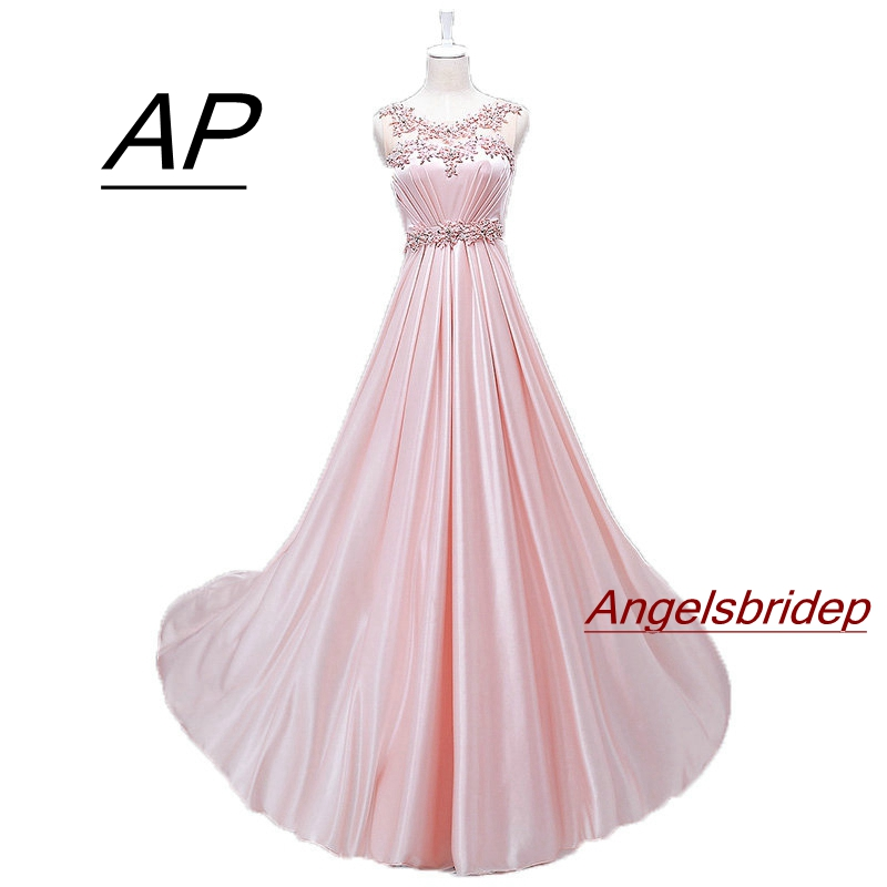 Angelsbridep Pink Satin Vestidos De Fiesta Prom Dresses 2019 Charming Beading Full-length Women Celebrity Party Gown Custom Make The Latest Fashion