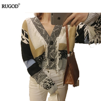 RUGOD 2018 Fashion V neck Long Sleeve Tassel Knitted Coats Women Autumn Winter Female Cardigan New Patchwork Cardigan For Women