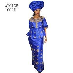 Vestidos africanos para mujeres 100% algodón nueva Moda Africana DEISGN BAIZN RICHE diseño bordado ropa Africana DP193 #