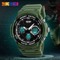 SKMEI Digital Quartz Watch Men Watches Waterproof PU Strap Sport Watch Chronograph Alarm Clock Military Army Wristwatch Relogio