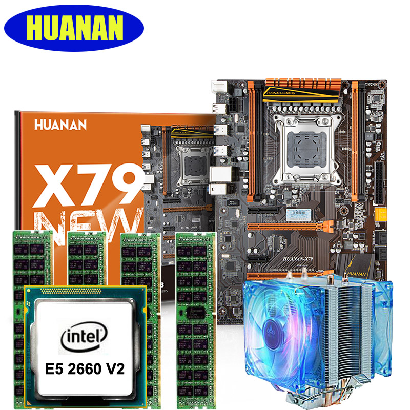 HUANAN X79 deluxe gaming motherboard CPU RAM with cooler Xeon E5 2660 V2 RAM 16G(4*4G) DDR3 RECC building perfect computer mini itx motherboard nm70 chipset celeron 1037u cpu mainboard with onboard 2gb ram 2 coms