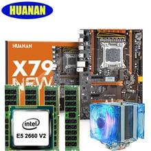 Материнская плата + Процессор + Оперативная память + охладитель набор huanan X79 deluxe игровой материнской платы Xeon E5 2660 V2 Оперативная память 16 г (4*4 г) DDR3 recc 2 тепловыми охладитель