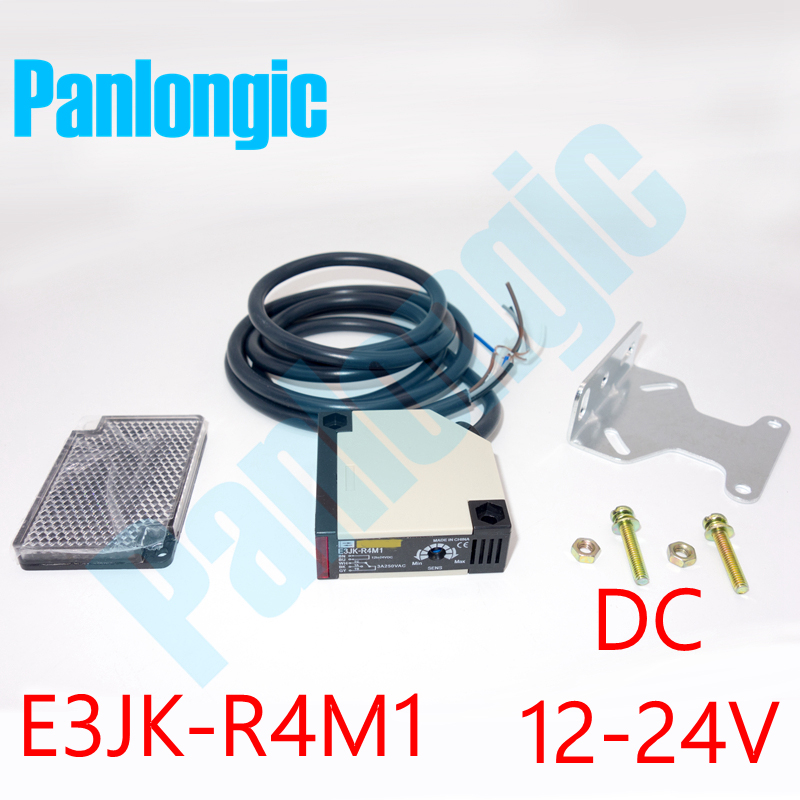 E3JK-R4M1 Retro-reflective Light-ON Pre-wired Type DC 12-24V Photoelectric Sensor Switch with E39-R1 Reflector Free Shipping dhl ems 10 sets for omron photoelectric switch sensor e3jk 5m2 e3jk5m2 new in box free shipping