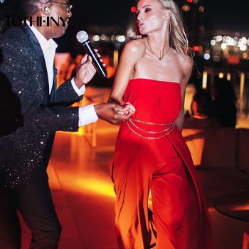 Tosheiny 2019 kobiety nowy lato Sexy Slash Neck Off Shoulder Backless pajacyki elegancki jednolity kolor kombinezon TH0072