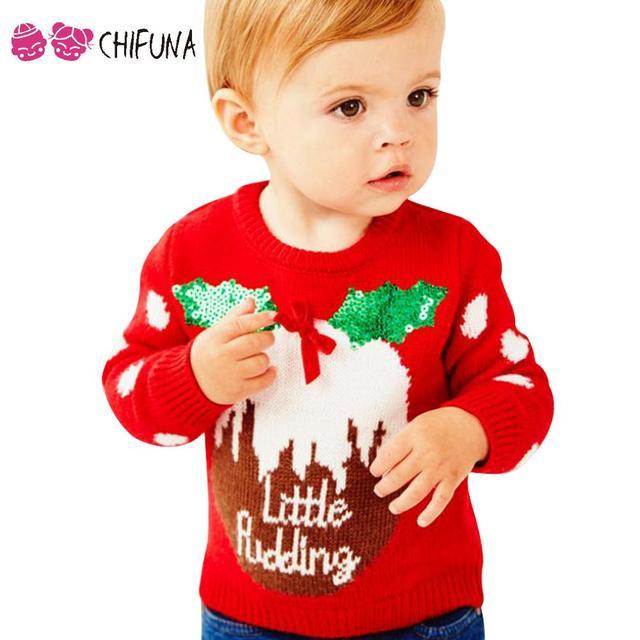 56c26ca50 New Fashion 2017 Children Christmas Sweater Autumn Winter Long ...