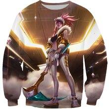 게임 T 셔츠 남성/여성 3D 인쇄 KDA Akali 프레스티지 스킨 스플래시 아트 T 셔츠/운동복/까마귀 캐주얼 탑 T99