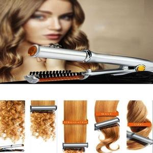 Image 5 - כסף 2 ב 1 שיער מחליק יישור איירונס עבור רב שיער סטיילינג עם LED אור מהבהב שיער שטוח ברזל