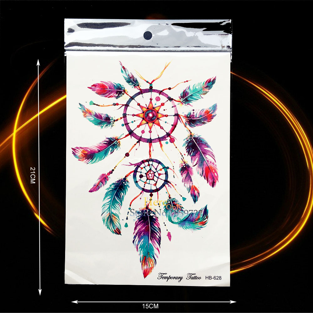 1PC Beauty Waterproof Waist Decals Temporary Tattoo Sticker Colorful Dreamcatcher Feather Design Women Body Leg Art Tatoo HHB628