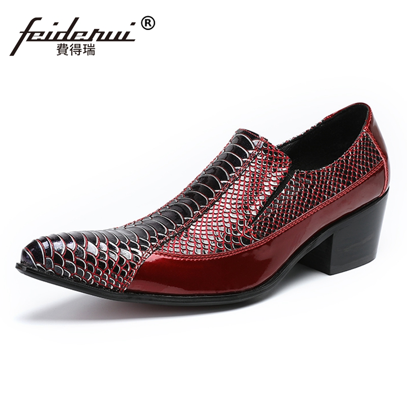 Plus Size Luxury Genuine Leather Man Wedding Loafers Pointed Toe Slip on Alligator High Heels Mens Banquet Party Shoes SL497Plus Size Luxury Genuine Leather Man Wedding Loafers Pointed Toe Slip on Alligator High Heels Mens Banquet Party Shoes SL497