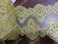 5 yards 7.5''(19CM)Gold Bilateral Beaded sequins Embroidery lace trim gorgeous lace trim for fabric Millinery accent motif