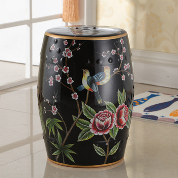 Black Flowers and birds Indoor Chinese ceramic Stool home decoration porcelain garden stool handmade dressing colorful stool