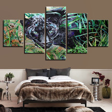 Modular Canvas Painting Wall Art HD Printed Pictures 5 Pieces Black Panther Living Room Animal Abstract Poster Home Decor Frame(China)
