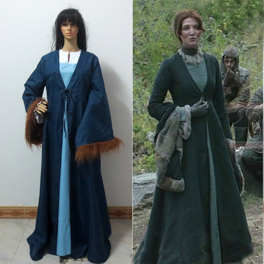 Hot Game Of Thrones House Tully Catelyn Stark Cosplay Costume
