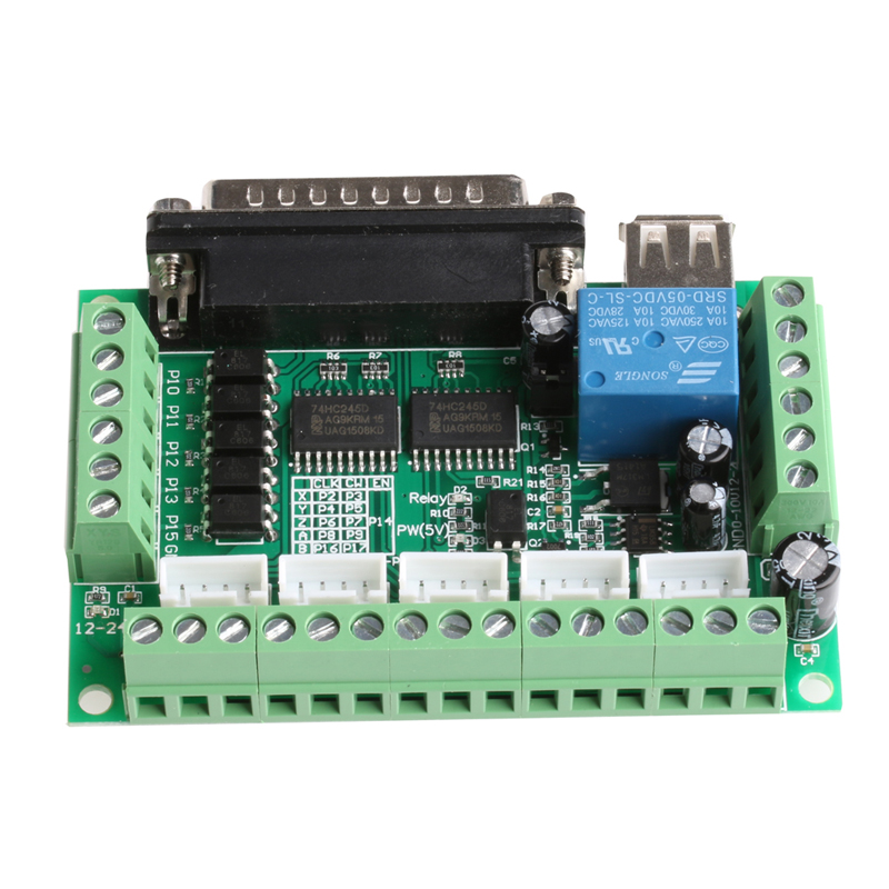 цена на 5 Axis CNC Breakout Board With Optical Coupler for MACH3 Stepper Motor Driver