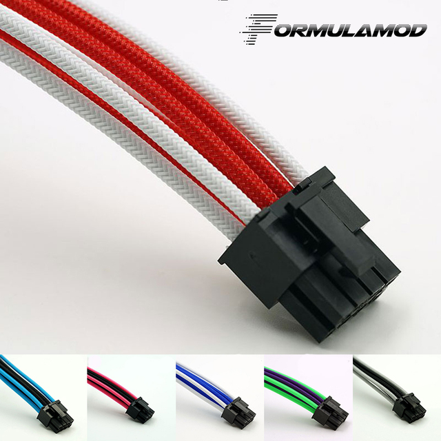 FormulaMod Fm-CPU8P-D, CPU 8Pin Power Extension Cables, Motherboard 18AWG 8Pin Multicolor Matching Extension Cables