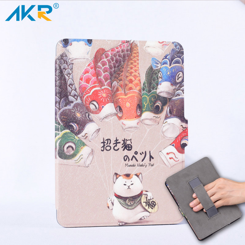 AKR One Hand Control PU Case for Kindle Paperwhite 1/2/3 Auto Sleep Wake Function + Protector film cartoon painted flower owl for kindle paperwhite 1 2 3 case flip bracket stand pu cover for amazon kindle paperwhite 1 2 3 case