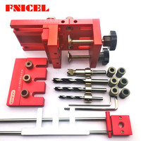 4 In 1 Woodworking Drill Guide Kit Locator Aluminium Alloy Dowelling Jig A3 Locator Board for Furniture Fast Connecting Fitting