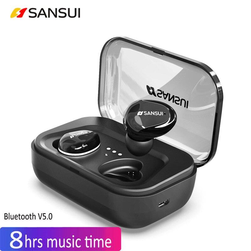 TWS Invisible Mini Écouteurs 3D Stéréo Mains-livraison Réduction Du Bruit 5.0 Bluetooth Casque Sans Fil Écouteurs et Boîte de Banque de Puissance