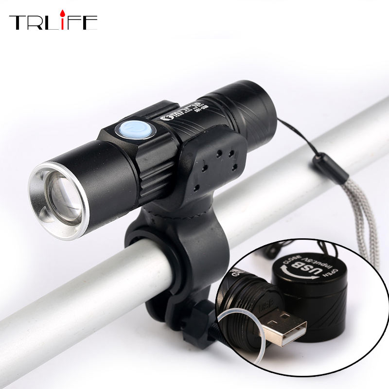3800Lumens Bicycle Light LED Waterproof Super Bright Bike Lights Rechargeable USB Flashlight Zoom Torch +Bike Mount 6000lumens bike bicycle light cree xml t6 led flashlight torch mount holder warning rear flash light