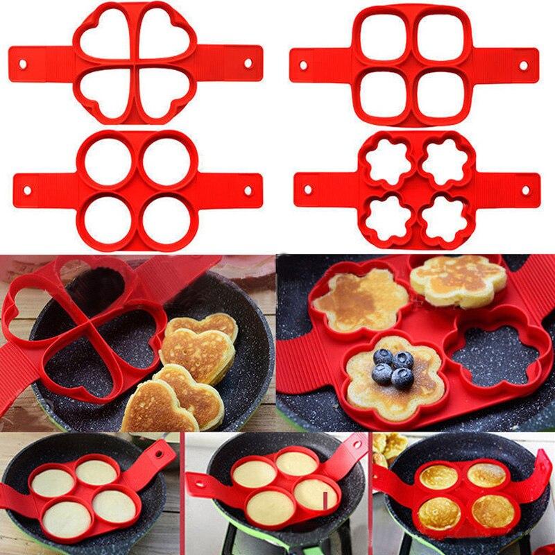 4 hole Pancake Maker Nonstick Cooking Tool Eggs Mold Kitchen Baking Accessories Round Heart Pancake Maker Egg Cooker Pan Flip