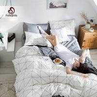 ParkShin Nordic Bedding Set 100% Cotton Duvet Cover Bedspread Flat Fitted Sheet Set Twin Queen Bed Linen Set Double Bedclothes