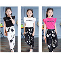 2016 Fashion Girls Outfits Floral Teenage Girls Clothing European Stryle Girls Clothing Sets Tops Suit And Pants Leggings