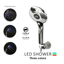 LED 3 Colors Water Powered Led Temperature Shower Head Digital Display Handheld Bathroom Showerhead Sprayer
