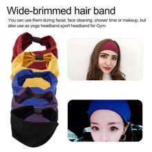 Cool Women Cotton Hair Band Lovely Female Elastic Wide-brimmed Headband Bows Headscarf Accessories Solid Colors