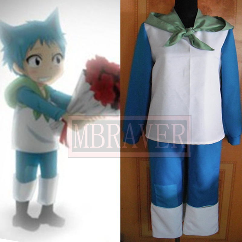 Fairy Tail Happy blue cat Personification Cosplay Costume
