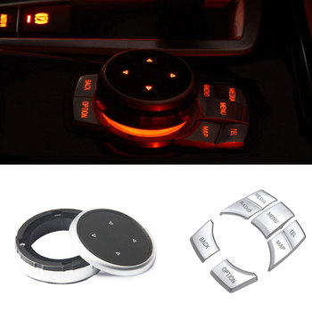 Car Styling For BMW F10 F20 F30 X3 X5 X6 E60 E90 1 3 series Idrive Multimedia Cover ABS buttons Cover Interior Stickers