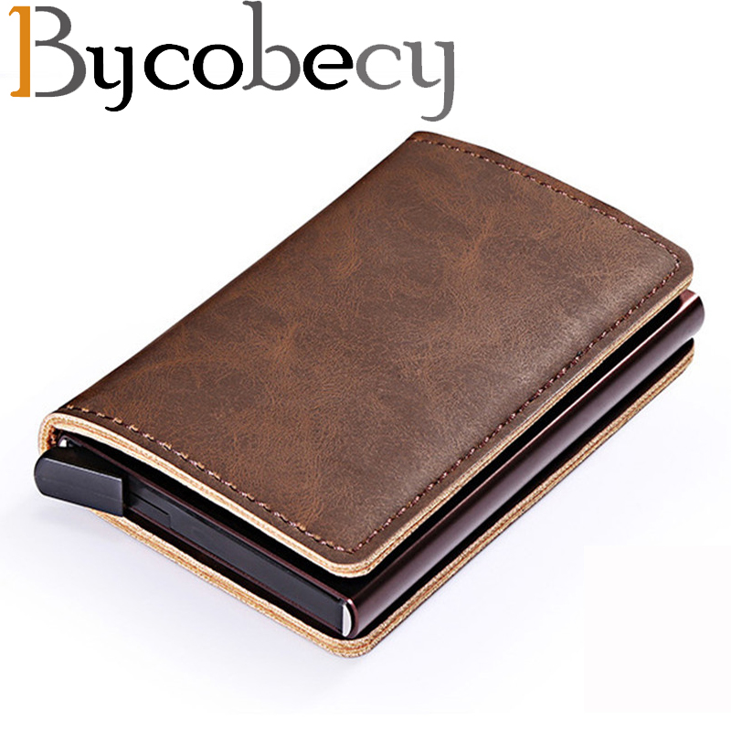 Bycobecy Mini Wallet Business Card Case 2019 Metal Women Wallets  With RFID Vintage Card Case Automatic Money Cash Clip(China)