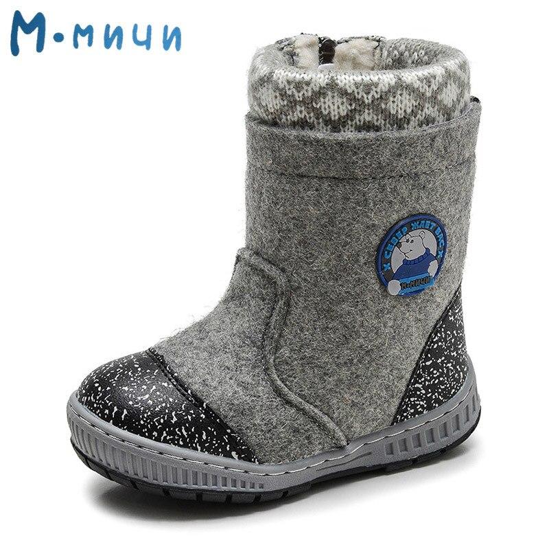 MMNUN fieltro de lana botas zapatos de invierno muchachos niños calientes zapatos de invierno niños nieve botas Zapatos invierno tamaño 23 -32 ML9425