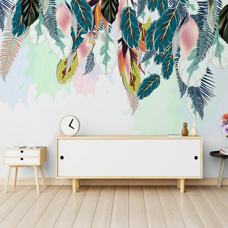 Custom Mural Wallpaper Nordic Small Fresh Green Leaves Watercolor Style Living Room Sofa TV Background Wallpaper Bedroom Mural
