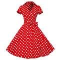 Plus Size S-4XL Women Retro Dress 50s 60s Vintage Rockabilly Swing Feminino Vestidos V neck Short Sleeves Dot Print Dress With B