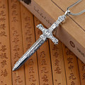 GZ 925 Silver Cross Pendant 100% Pure S925 Solid Thai Silver sword Pendants for Men Jewelry Making
