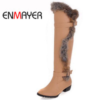 ENMAYERnew2015 Fashion Round Toe Med Buckle Rabbit Long Girl Boots For Women Shoes Platform Snow Knee