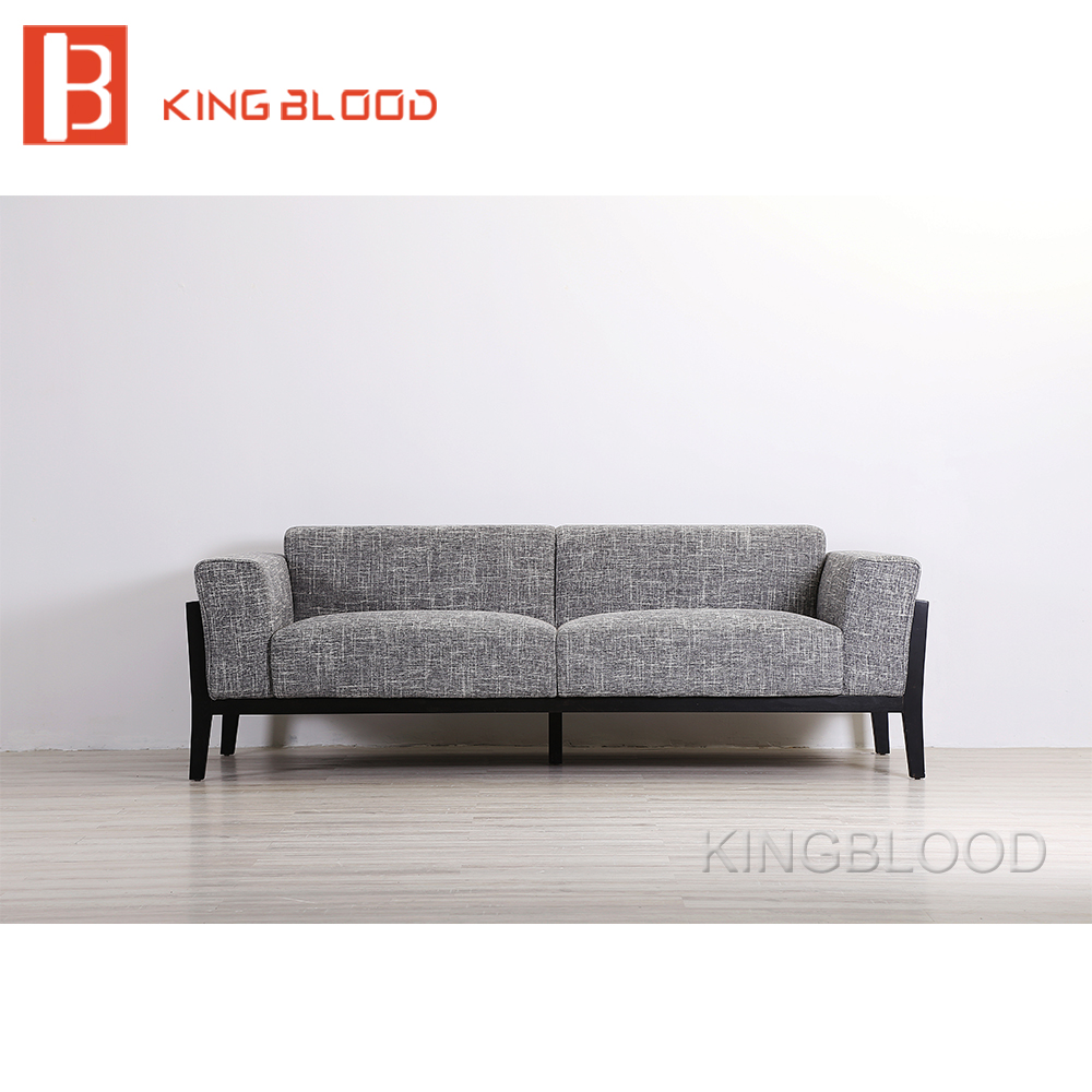 Solid Wood Frame Grey Linen Fabric Sofa Set Furniture Home For Living Room  Apartment