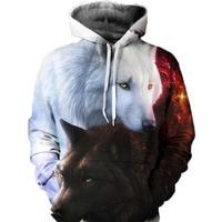 Unisex Men Women Animal Wolf 3D Print Casual Hoodie Teens Fashion Hooded Casual Harajuku Oversize Long