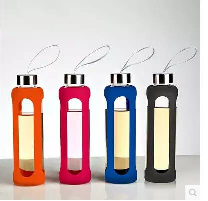 New 550CC Drinkware Sport Glass Water Bottle With Silicone Insulation Creative Kettle Botella Agua Cristal Hot