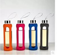 Nuovo 550cc articoli e attrezzature per acqua, caffè, tè sport bottiglia di acqua di vetro con isolamento in silicone creativo bollitore botella agua cristal vendita calda