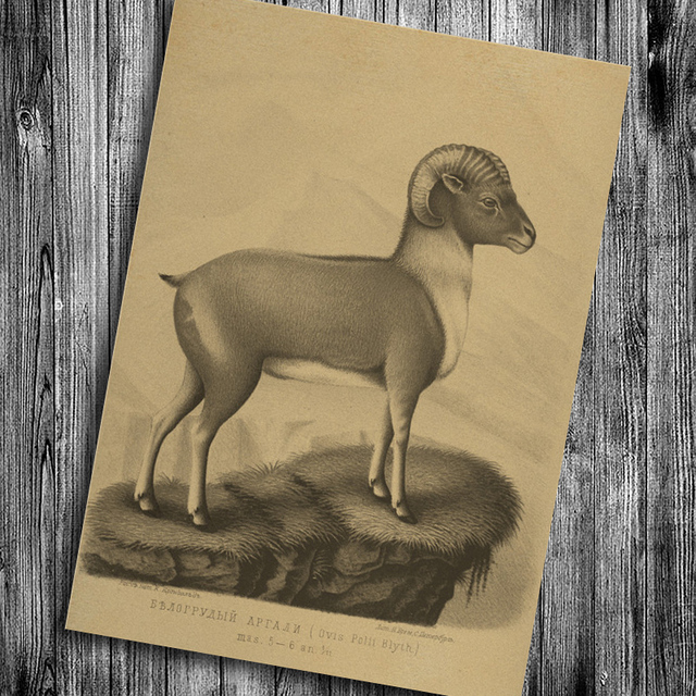 Modern Vintage Animal Goat Art Prints Posters Krafts Paper Painting Retro Wall Stickers Home Decor Bar