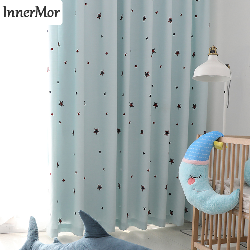 US $46.79 39% OFF|Innermor Embroidered star Curtain For kid\'s room Soft  Blue curtains for bedroom Faux linen for curtains Living room Customized-in  ...
