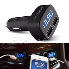 4 In 1 Dual USB Car Charger Adapter Voltage DC 5V 3.1A Tester For iPhone PHONE