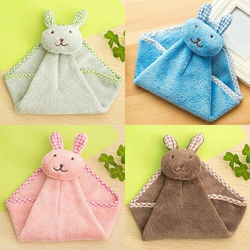 Cartoon Rabbit Kitchen Bathroom Hanging Towel Coral Velvet Hand Dry Towels
