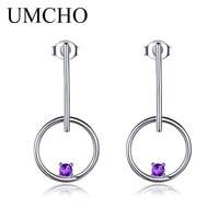UMCHO Genuine Natural Amethyst 925 Sterling Silver Drop Earrings Wedding Jewelry Long Dangle Rarrings For Women