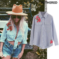 Withered Blusas Women Blouse European And American Style Rose Embroidery Rock Pure Cotton Striped Big Pockets