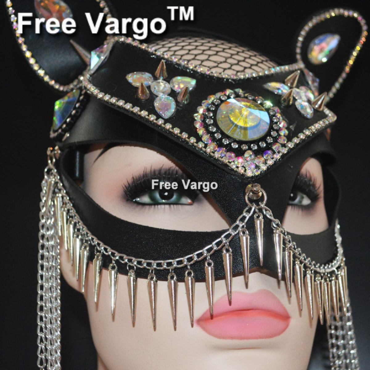 Holographic Burning Man Halloween Masquerade Half Face Cat Mask Catwoman Leather Costume Festival Rave Kitten Mask Outfits Gear
